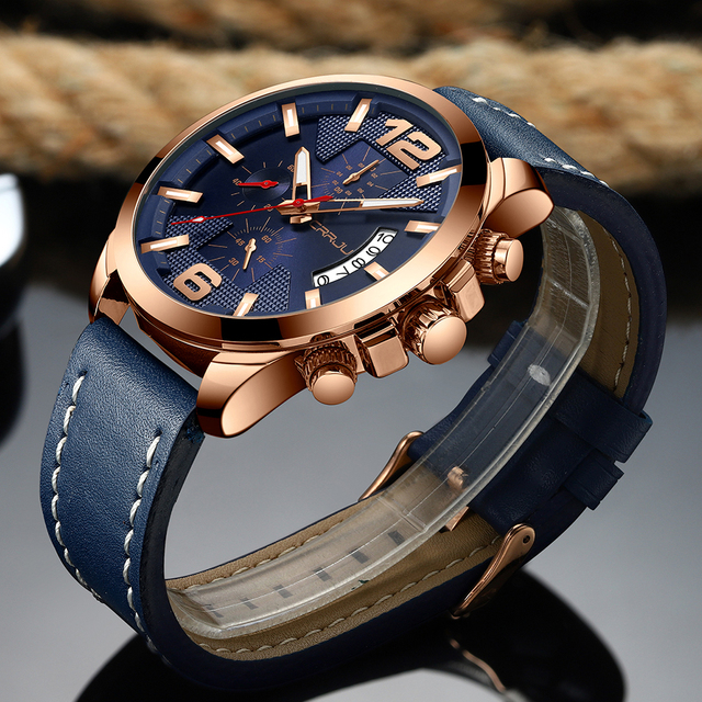 Top Luxury Brand CRRJU New Chronograph Men Watch Hot Sale Fashion Military Sport Waterproof Leather Wristwatch Relogio Masculino 3