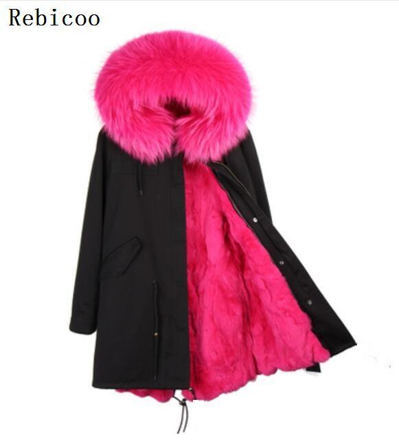 Woman long   Parkas   Large Faux Raccoon Fur Collar Hooded Coat Outwear Detachable Fake Rabbit Fur Lining Winter Jacket