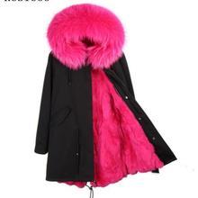 Woman long Parkas Large Faux Raccoon Fur Collar Hooded Coat Outwear Detachable F