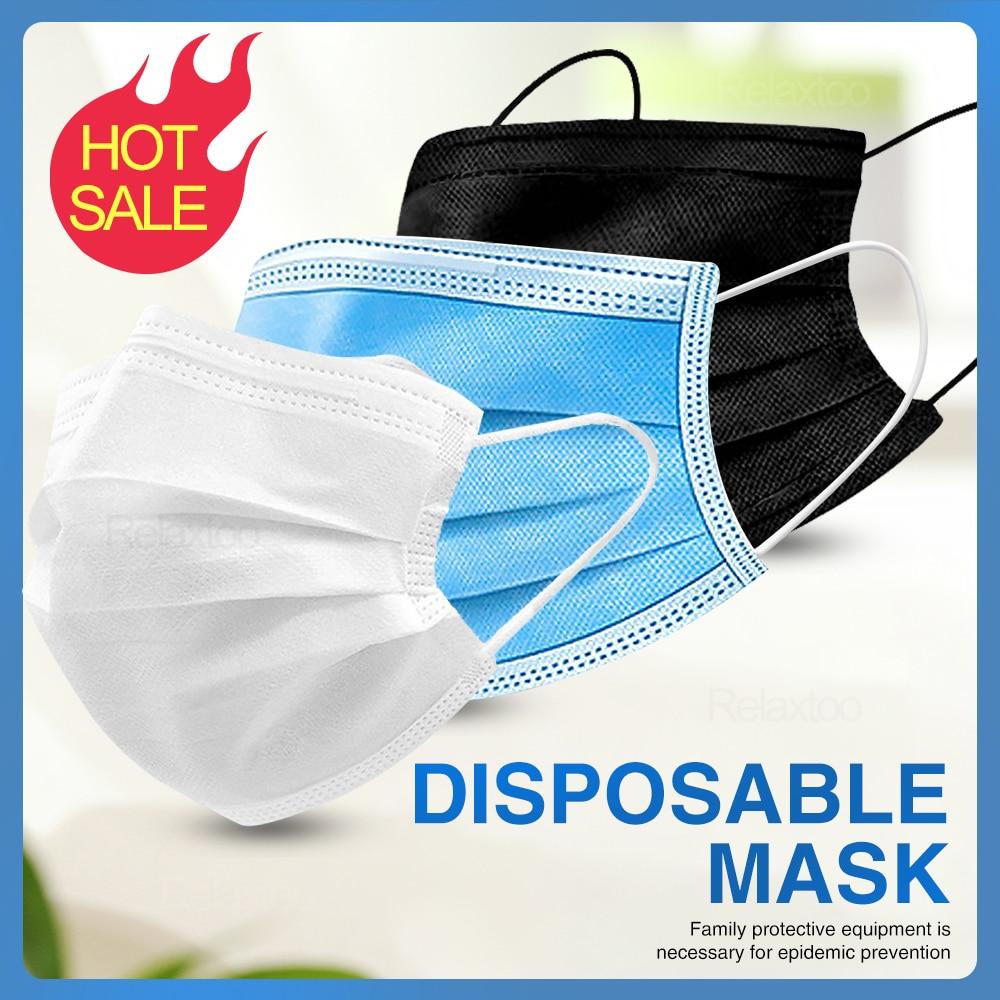 50 pcs Disposable Protective Mask Anti Virus Mask Antivirus Protect 3 Layers Filter Non Woven Mouth Masks Elastic Guard Veil|  - title=