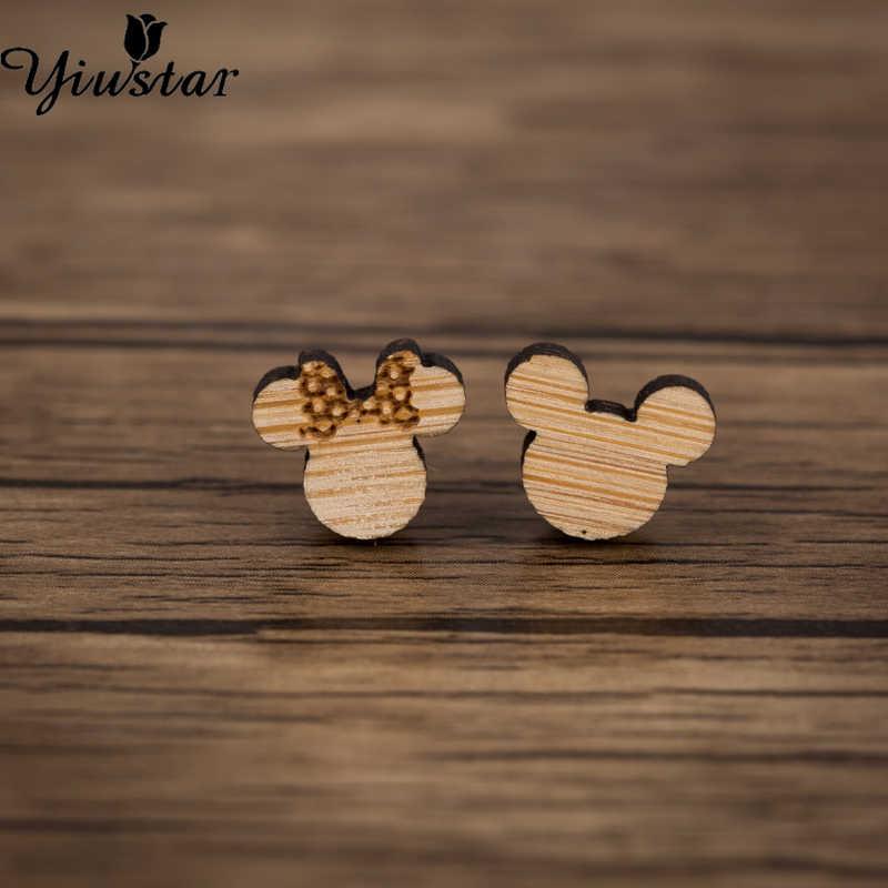 Yiustar Mới Thời Trang Mini Gỗ Phong Cách Mickey Tai Đính Đá Dây Thép Không Gỉ Pin Động Vật Cáo Xuyên Tai Trong Cơ Thể Trang Sức Trẻ Em quà Tặng