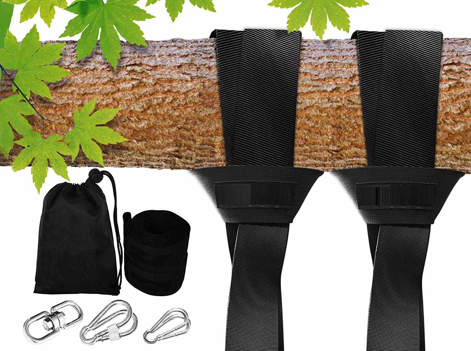 2 Tree Protectors Holds 2200 LBS Extra Long 10 ft Straps Tree Swing Hanging Kit Hammock /& Tire Swing Tree Swings for Swing Sets Set Of 2 2 Carabiners with Locking System /& Video Instructions