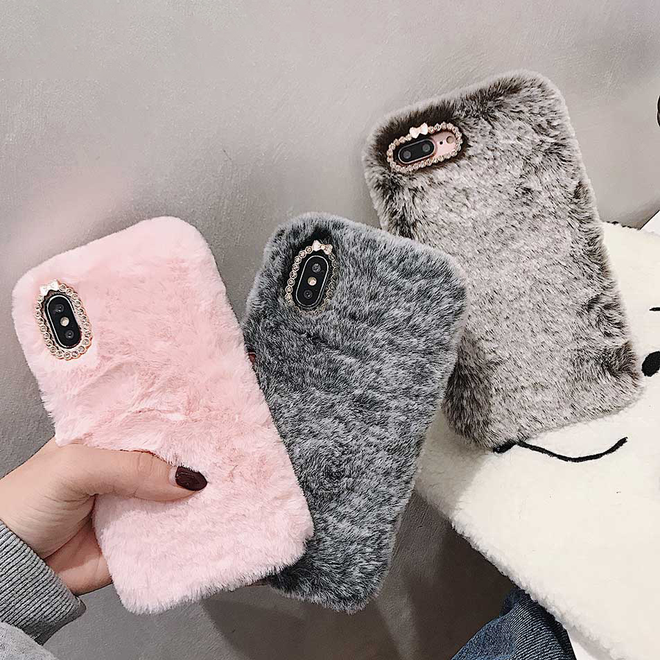 Furry Fluffy Warm Phone Case For Iphone 11 Pro Max XR XS Max 6 6S 7 8 Plus X Fashion Soft Fur Phone Back Cover Cases