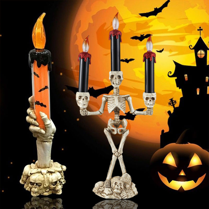 Skeleton Candle Skull Candlestick LED Candle Light 3-Heads Plastic Horrible Creative Haunted House Wall Home Party Decoration