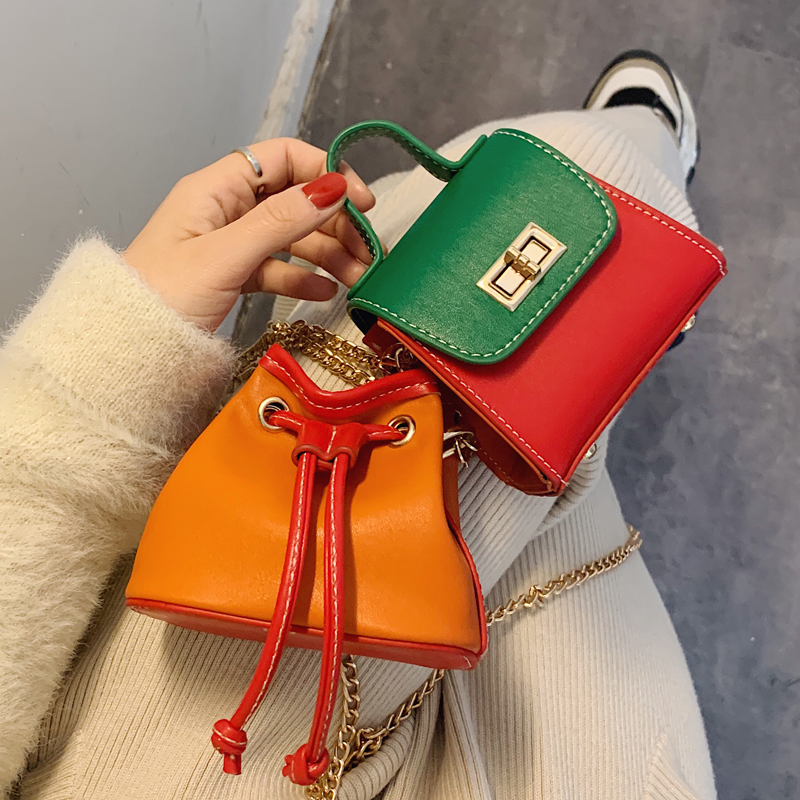 Contrast Color Mini Square Tote Bag 2020 Fashion New High Quality Leather Women's Designer Handbag Chain Shoulder Messenger Bag