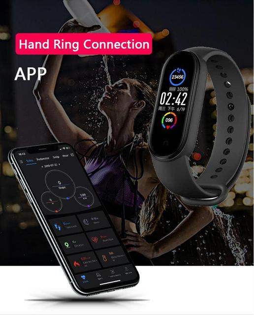 M5 Smart Band Men Women Watch Heart Rate Blood Pressure Sleep Monitor Pedometer Bluetooth-compatible Connection for IOS Android 4
