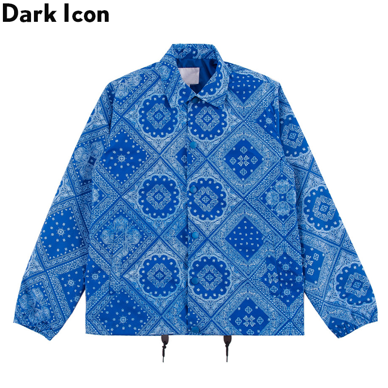 Dark Icon Bandana Hip Hop Jacket Men Turn-down Collar Paisley Street Fashion Men's Jacket Streetwear Jackets For Man 4XL