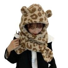 Scarf Earflap-Cap Plush Bear-Ears Winter Women Warm Cute Thick Hooded-Hat Thermal-Neck-Warmer