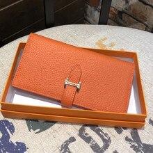 Prawdziwej skóry kobiet luksusowy Design portfele kiesy moda długa portmonetka etui na karty do telefonu sprzęgła 2021 (jasne złoto Hardwar)