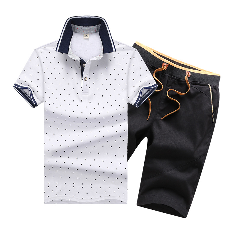 D802511 Summer Leisure Suit-Style POLO Shirt Short Sleeve T-shirt Shorts Men's