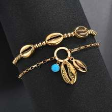 Hello Miss New fashion anklet bohemian handmade beaded metal shell personality double-layer beach womens jewelry