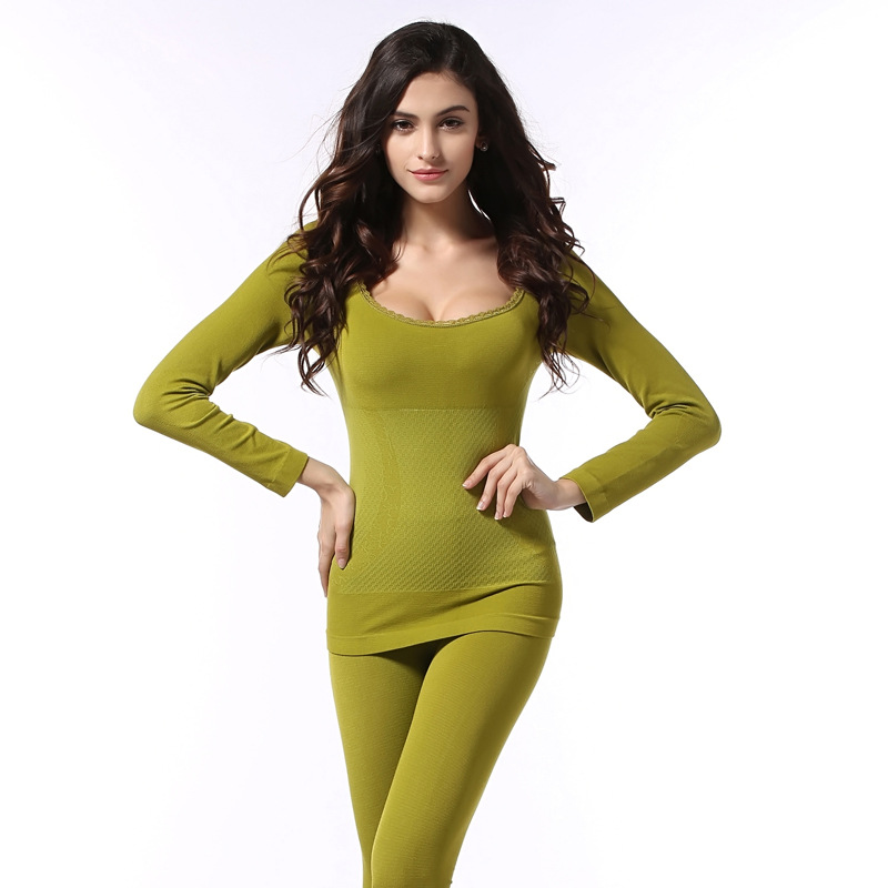 Sexy Lace Seamless Body Feminino Thermal Clothes Women's Winter Warm Suit Basic Long Johns Slim Thermal Underwear For Women