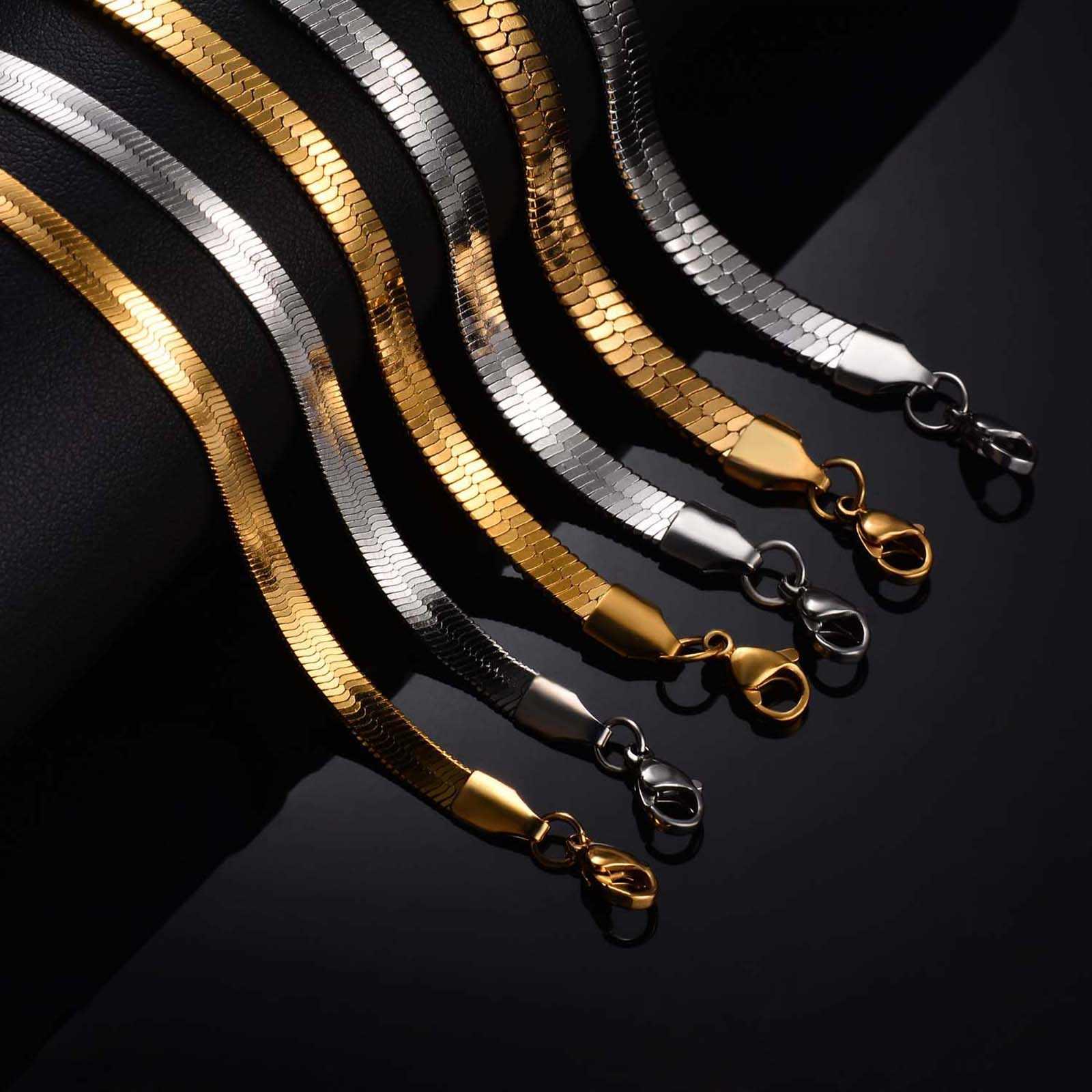 1PC Larghezza 4mm/5mm/6 millimetri In Acciaio Inox Piatto Del Serpente Della Collana Della Catena Dei Monili per Gli Uomini le donne di Lunghezza Può essere Personalizzato