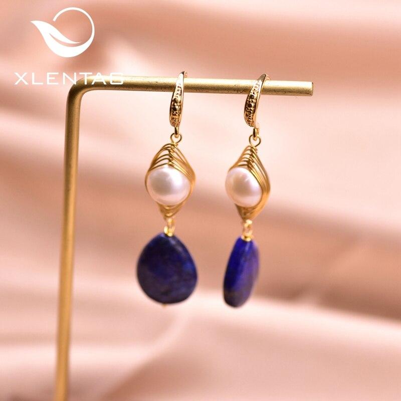 XlentAg Natural Lapis Lazuli Pendant Pearl Earrings Boho Aesthetic Stone Earings Hook Accessories Women Romantic Jewelry GE0922