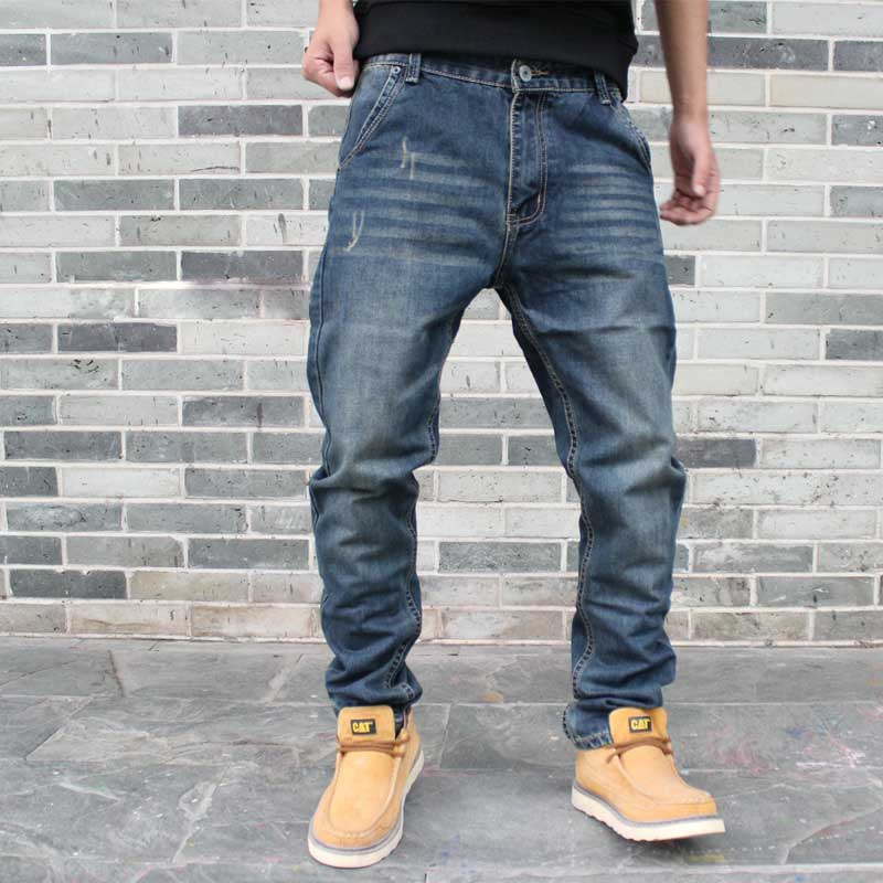 Trendy Harem Jeans Men Casual Tapper Denim Pants Fashion Loose Baggy Joggers Pants Plus Size Trousers Man Clothing
