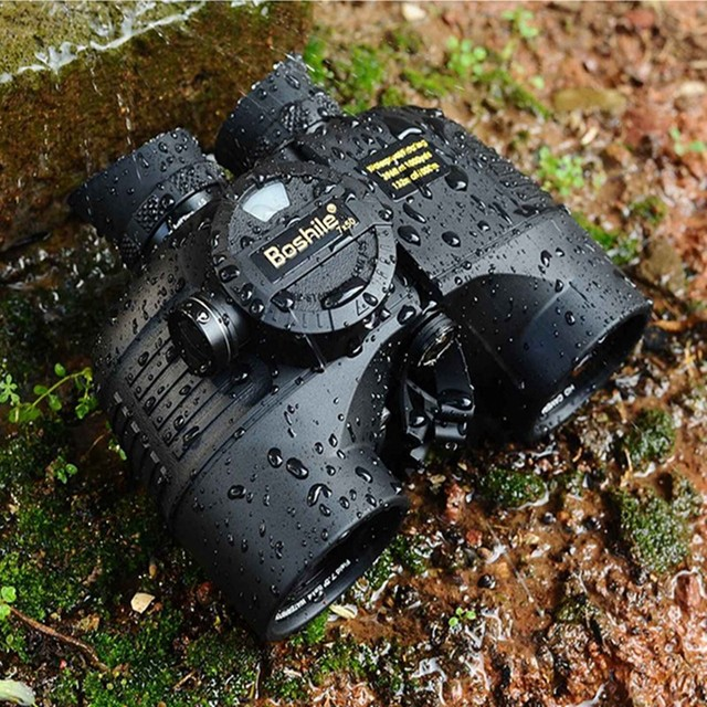 Binóculos marinhos poderosos 7x50/10x50, nível militar, com rangefinder, bússola, visão noturna hd, à prova d água