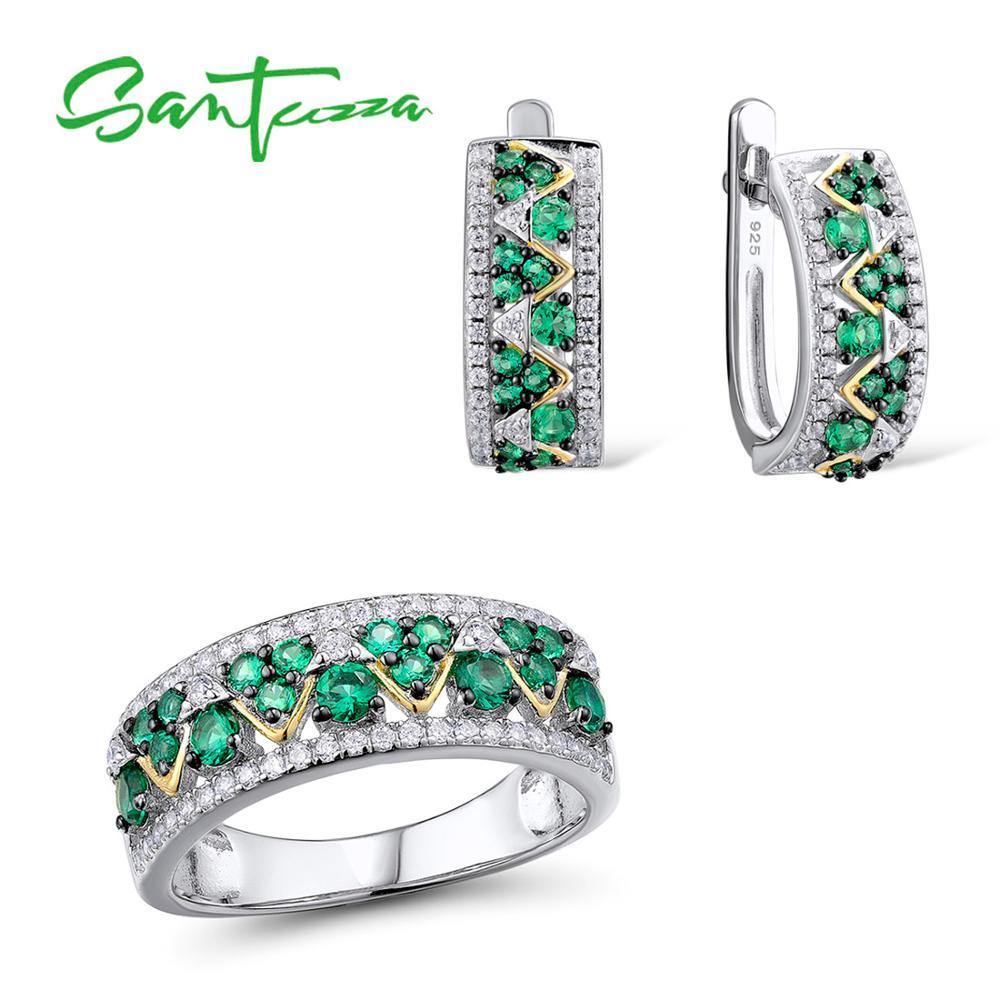 SANTUZZA Jewelry Sets For Woman Green White CZ Stones Jewelry Set Earrings Ring 925 Sterling Silver Trendy Fashion Fine Jewelry