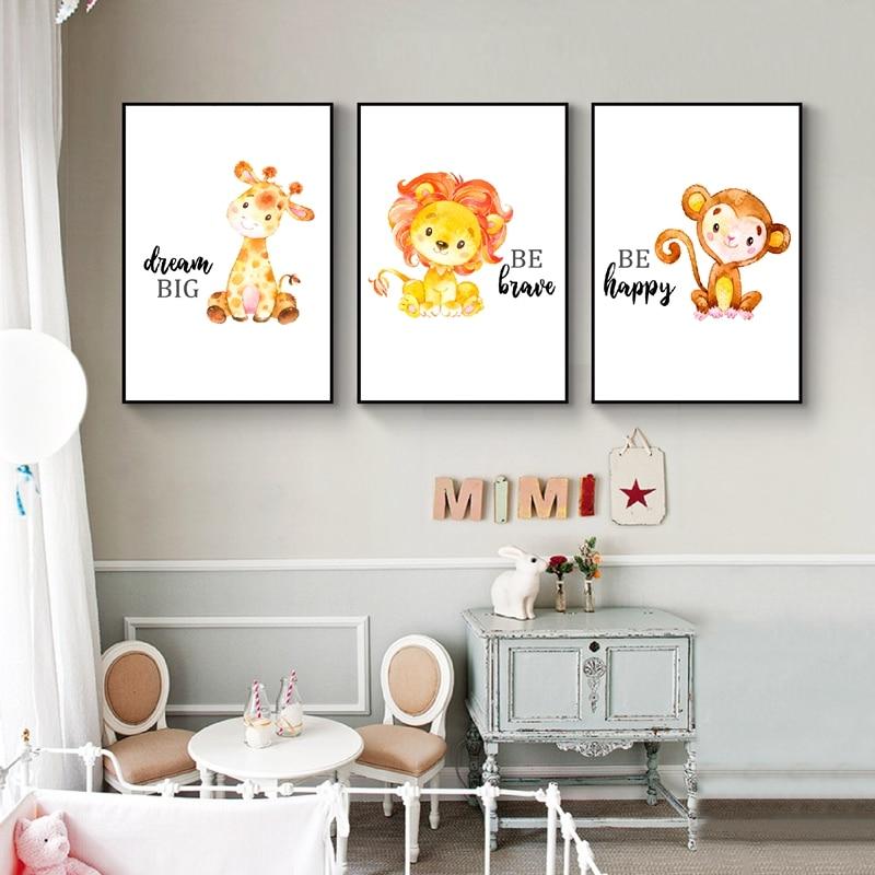 Giraffe Elephant Lion Zebra Ppsters Baby Room Wall Decor