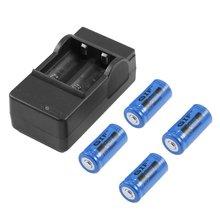 4pcs 16340 3.7V 2800mAh Rechargeable Li-ion Battery + US Plug Charger 3 Color fo