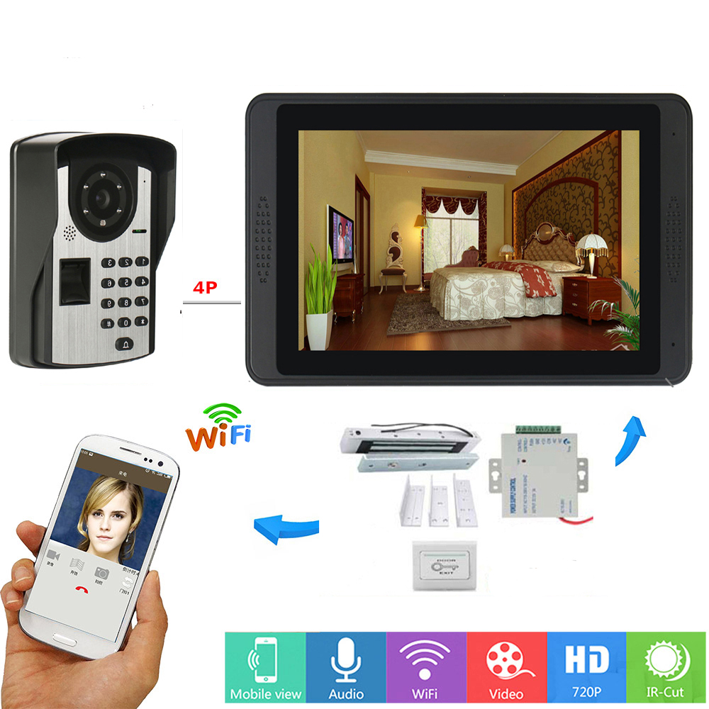 APP Control Unlock 7 Inch LCD Fingerprint Password Wifi Wireless Video Door Phone Doorbell Video Intercom KIT+Door Opening Lock
