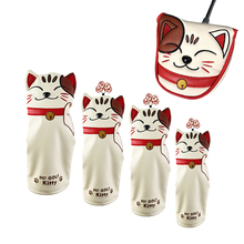 Putter-Cover Golf-Club-Head-Covers Golfer Mallet Met-Magnetische Cat Cute Gift Lederen