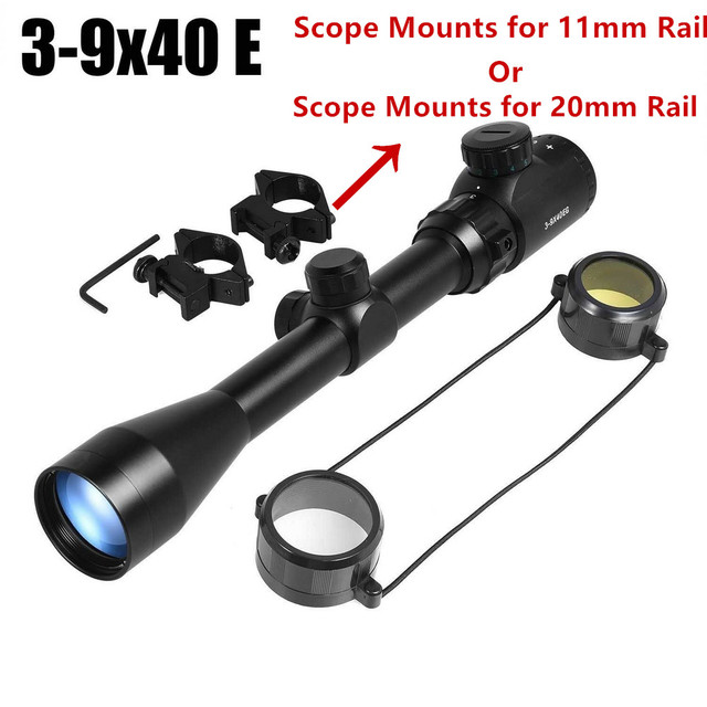 3-9x40EG Optic Hunting Riflescope with Red/Green Illuminated for Air Rifle Optics Hunting Sniper Scopes Sight W/Pair 2