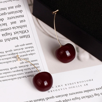 2PCS New European and American Fruit Fashion Long Ear Nail Temperament Cherry Resin Cherry Earrings Round.jpg 350x350 - 2PCS New European and American Fruit Fashion  Long Ear Nail Temperament Cherry Resin Cherry Earrings Round Dangle Lady Earrings