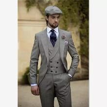 Лучшие мужские костюмы из 3 предметов, винтажные мужские свадебные приталенные смокинги, одежда для жениха, деловой костюм(пиджак+ жилет+ брюки