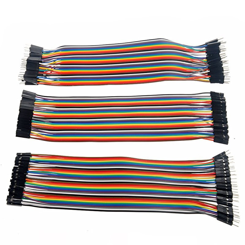 Multicolour 40 <font><b>Pin</b></font> Female to Male Female to Female Breadboard Jumper <font><b>Wire</b></font> Flat Cable <font><b>3</b></font> x 20cm image