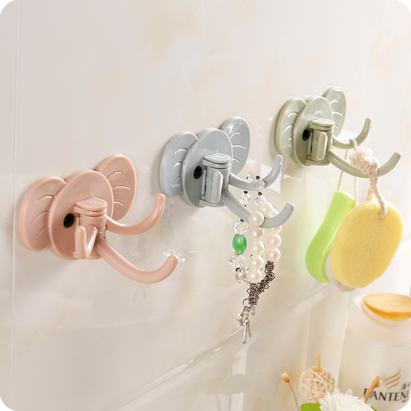 Elephant Shape Key And Decorative Hooks Self Adhesive Plastic Multifunction Wall-mount Key Holder Bathroom Kitchen Organizers