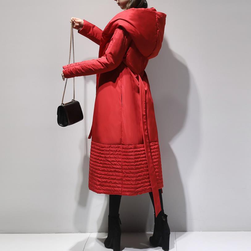 Thicker quente sobre o joelho botas de inverno era magro com capuz duck down coats feminino pato quente para baixo casacos outerwear com cinto f308|Casacos longos|   - AliExpress