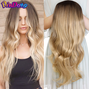 """DinDong 24"""" Wave 3/4 Ladies Half Wig Hair Synthetic Wigs with Comb on a Mesh Head Cap Clip in Hair Extension(China)"""