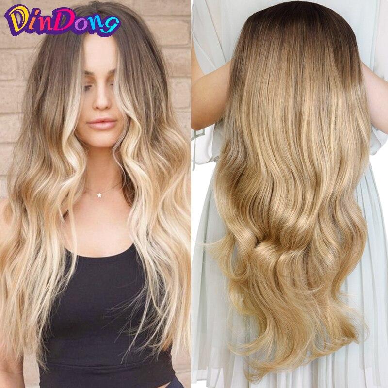 """DinDong 24 """"Wave 3/4 Ladies Half Wig Hair pelucas sintéticas con peine en una cabeza de malla Clip en la extensión del cabello"""