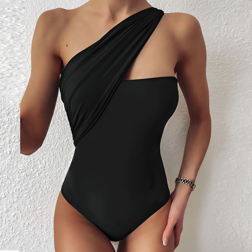 Sexy Solid Bikinis Set Women One Shoulder Swimwear Backless Bandage Bathing Suit Swimsuit Summer Tube Top Female Beachwear 0525 1