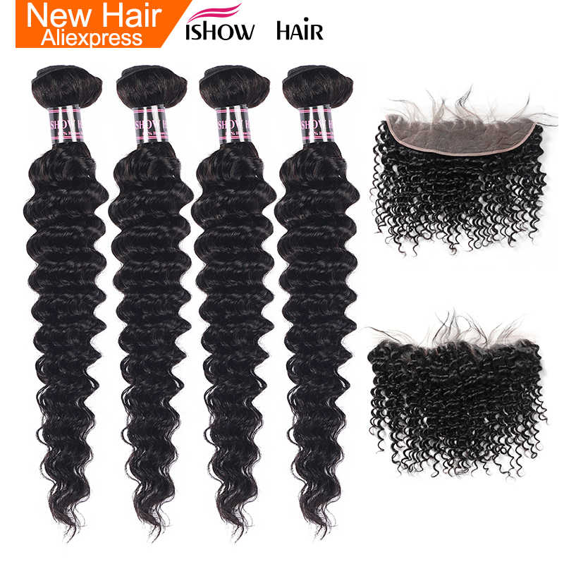 Ishow Hair Indian Deep Wave Hair Weave Bundles With Lace Frontal Closure Non Remy Human Hair 4 Bundles With Lace Frontal