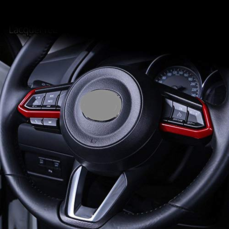 Red ABS Interior Steering Wheel Cover Trim For Mazda CX-3 CX3 2016-2018 FashionInterior Accessories Interior Mouldings 1 Pair (1