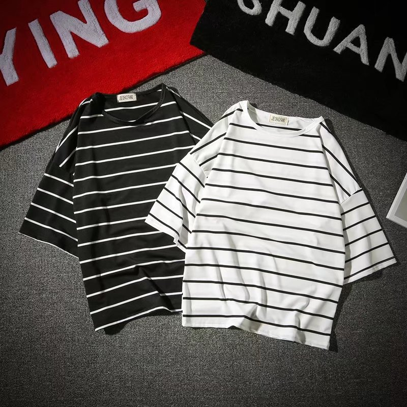 Summer Wear Japanese-style Hipster Korean-style Popular Brand Men And Women Couples Stripes Short Sleeve T-shirt Base Loose-Fit