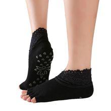 Женские нескользящие носки для йоги с открытой спиной, силиконовые Нескользящие носки с 5 носками, женские хлопковые носки для балета, танцев, тренажерного зала, фитнеса, пилатеса