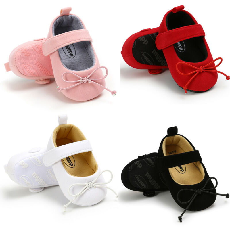 Newborn Baby Girl Boy Crib Shoes Toddler Pram Soft Sole Prewalker Anti-slip Sneakers First Walkers Infants Red Pink Black White