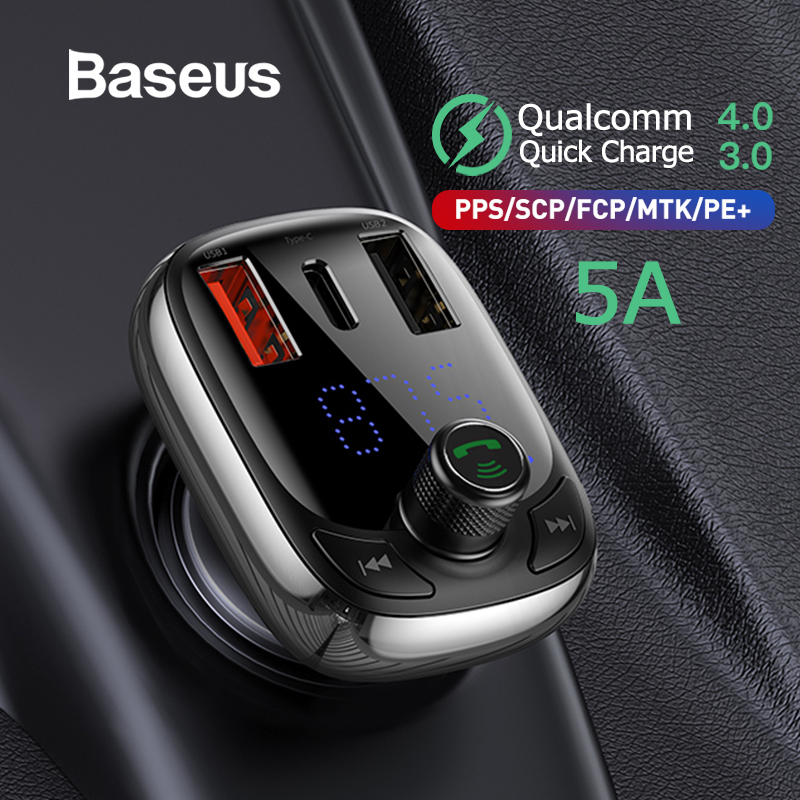 Baseus FM Transmitter Modulator Bluetooth 5 0 Handsfree Car Kit Audio MP3 Player With PPS QC3 0 QC4 0 5A Fast Car Auto Charger in FM Transmitters from Automobiles Motorcycles