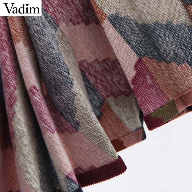 Image 5 - Vadim women elegant striped print midi skirt elastic waist retro female casual basic pleated mid calf skirts BA897Skirts   -