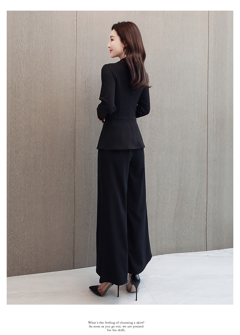 Black Grey Office Two Piece Sets Outfits Women Plus Size Buttons Tops And Wide Leg Pants Suits Elegant Fashion Ladies Suits 2019 37