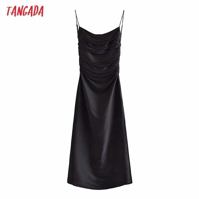 Tangada Women's Party Dress Fashion Black Pleated Dresses Backless Female Long Dress 3H793 1