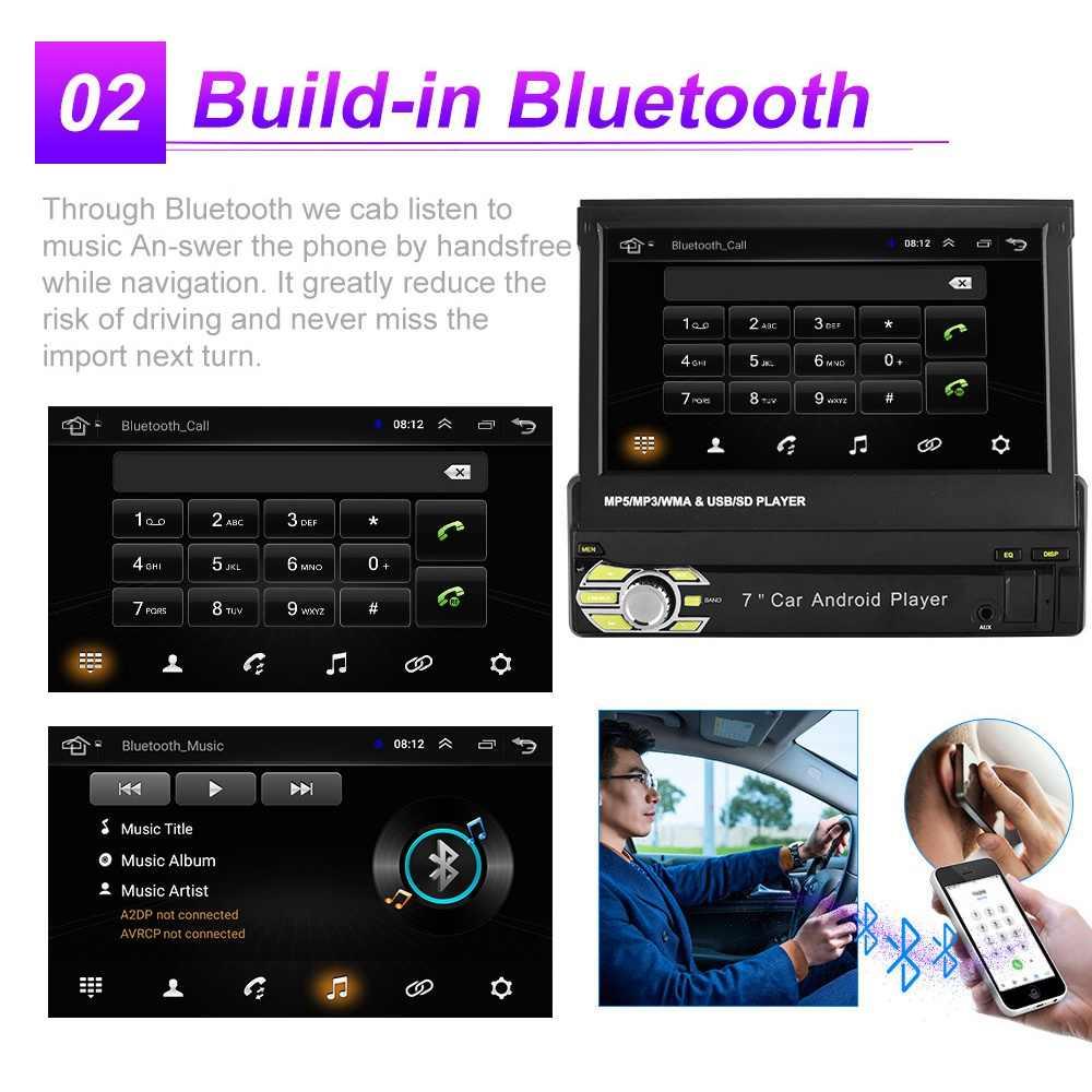 2G + 32G Android 8.1 Mobil Radio Ditarik GPS WIFI Auto Radio 1 DIN 7 Inci Layar Sentuh Mobil multimedia MP5 Pemain Mendukung Kamera
