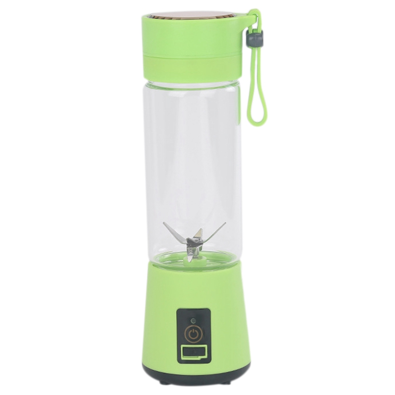420Ml Portable Juicer Glass Bottle Juicer USB Rechargeable 6 Blades Juicer Smoothie Blender Machine Mixer Mini Juice Cup Green image