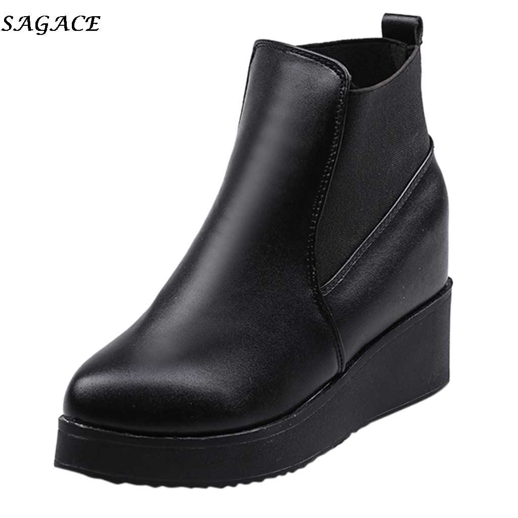 SAGACE kadın sonbahar kısa yarım çizmeler platformu takozlar deri ayakkabı bayanlar rahat su geçirmez slip-on ayakkabılar kadın Chelsea çizmeler #