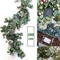 2 m artificial verde eucalipto guirlanda folhas videira videira falso vieiras vime plantas artificiais hera grinalda decoração de parede do casamento