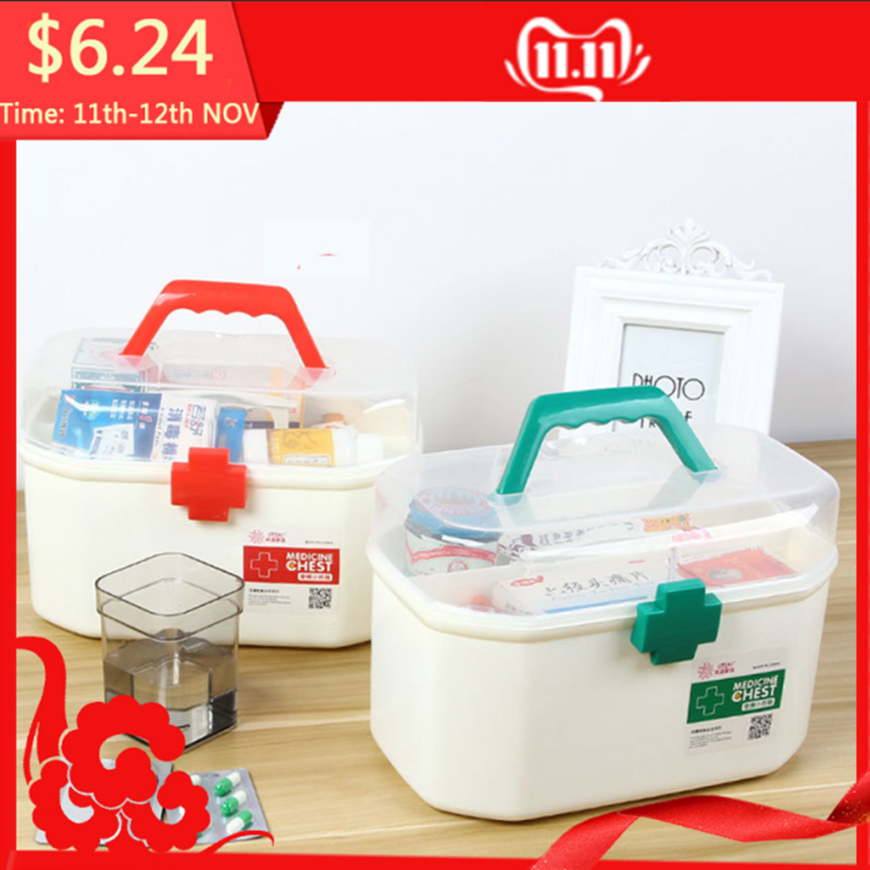 Large Medicine Box First Aid Kit Medical Box Double Layer Medicine Box Hand Chest For Household Indoor 2 Color