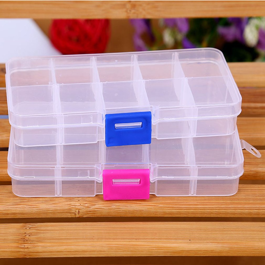 Waka 10 Grids Plastic Storage Box For Small Component Jewelry Tool Box Bead Pills Organizer Nail Art Tip Case
