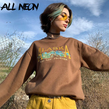 ALLNeon Indie Aesthetics Letter Embroidery Crewneck Brown Tops Y2K Fashion Oversize Long Sleeve Sweatshirts Egirl Outfit Vintage